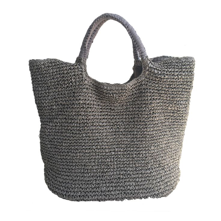 Straw tote style large crocheted straw bag