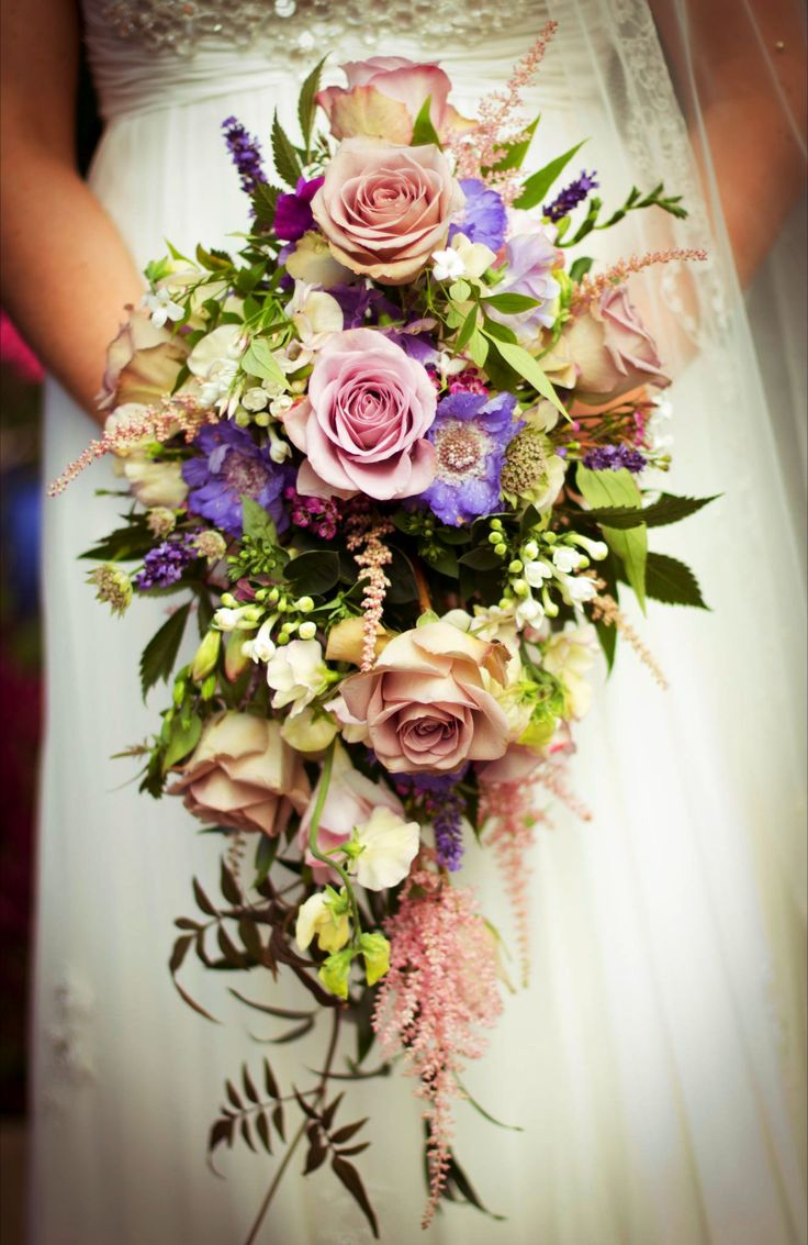 Shower bouquet with Memory Lane Roses and mixed summer flowers including Scabious, Astrantia, Astilbe, Lavender and Jasmine.