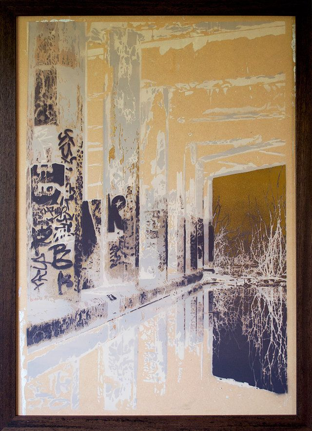 "Gregor Henderson ""Tunnels Gold"", Spray Paint on MDF, 65cmx90cm, framed,  sold, 2016  Layers of cut card, primarily concentrating on structure and decay with graffiti."