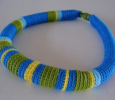 Crocheted TUBE NECKLACE -  lovely colors!