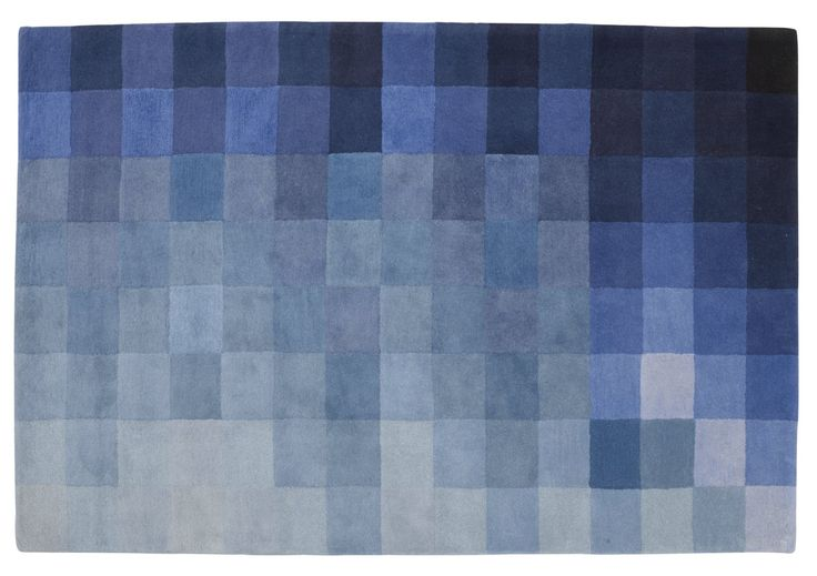 CHART rug in shades of blue 250 x 200 cm or bespoke size to order. Also in orange/ red colourways.