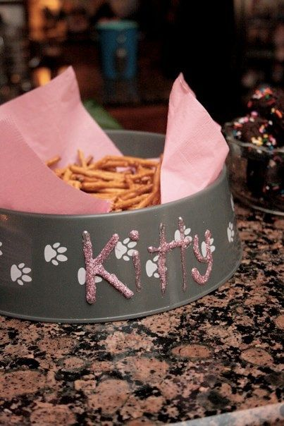 "Kitty bowl with snacks (I would use Pepperidge Farm goldfish) or should I call it ""catnip?""  #CatsSayCheese"