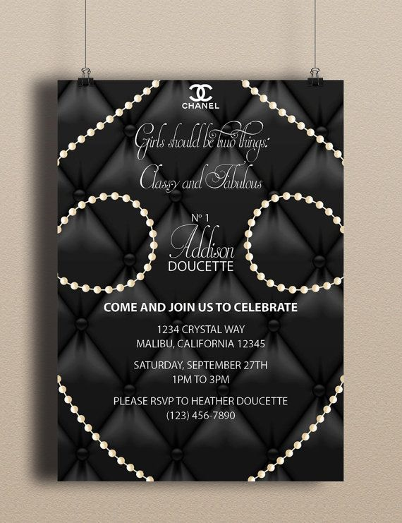 Instant DownloadCoCo Chanel Blank Upholstery Pearls Fancy DIY Printable Birthday Party Baby