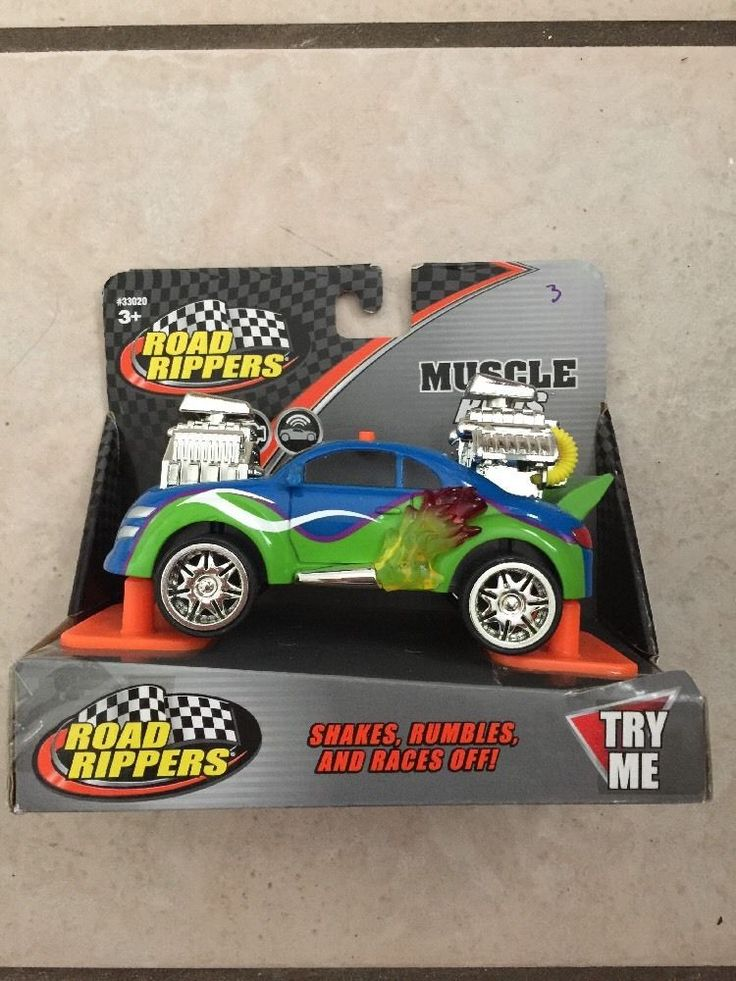 """TOY STATE ROAD RIPPERS MUSCLE RODS """"BLUE GREEN AND SILVER"""" 5"""" #TOYSTATE"""