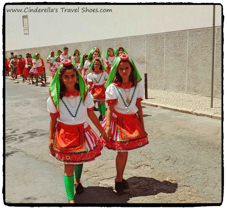 Portuguese girls in typical costume during the Festival of Sardines