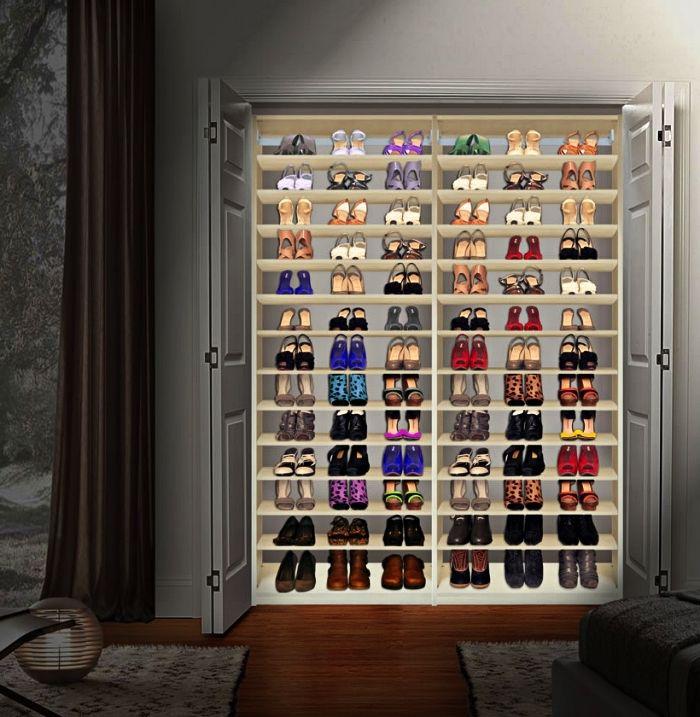1001 Idees Pour Amenager Un Dressing A Chaussures Placard Chaussure Dressing Fait Maison Amenagement Dressing