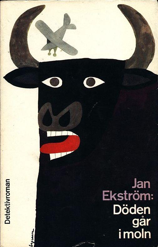 "Book cover by Rolf Lagerson, 1962. ""Döden går i moln"" by Jan Ekström. (Swedish)"