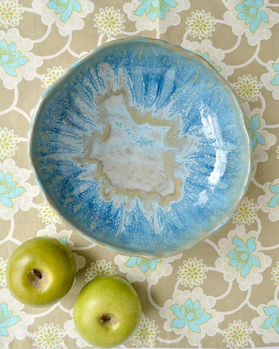 Rustic baking dish ceramic serving bowl Ice Blue by OneClayBead, $48.00