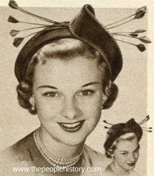 Feather Tip Quills Hat 1950