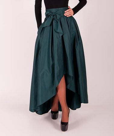 Look what I found on #zulily! Dark Green Tie-Waist Hi-Low Skirt #zulilyfinds
