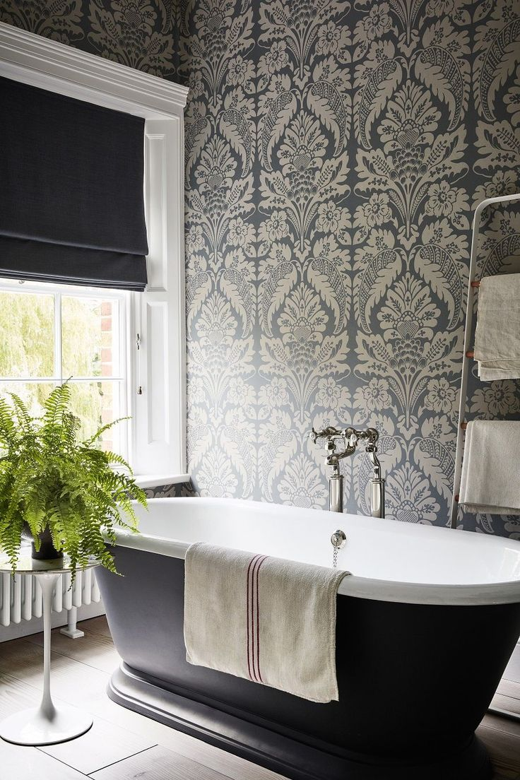 Can You Painting Wallpaper Is There Anywhere You Cant Use Wallpaper Canyou Paintingwallpap Traditional Bathroom Traditional Bathroom Designs Black Bathroom