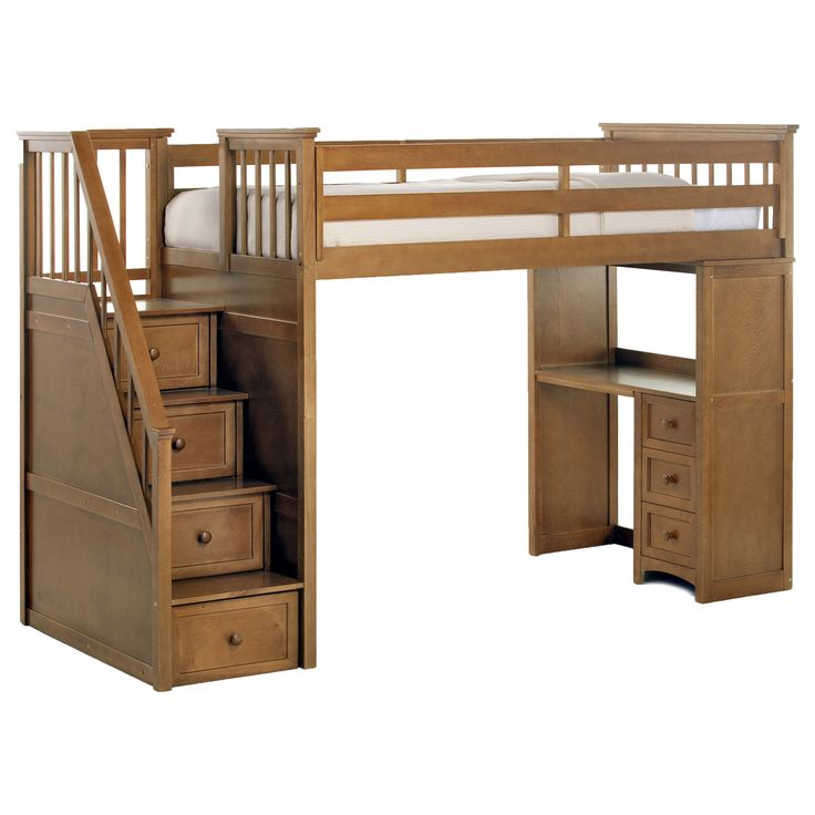 The set includes a desk that can be reversed to sit under the loft and a drawer in each of the stairs for ample storage. This loft and desk is a perfect fit for rooms with a small amount of space. The desk can be situated under the loft or face outward.