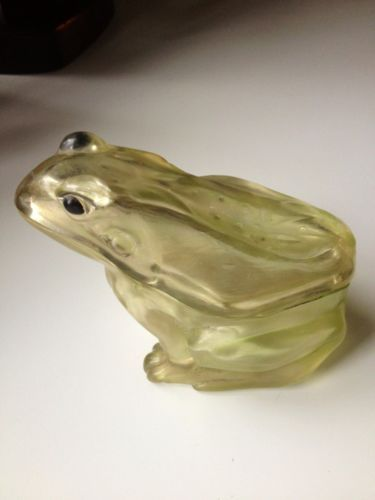Rare Carnival Glass Antique Iridescent FROG Candy Container Signed