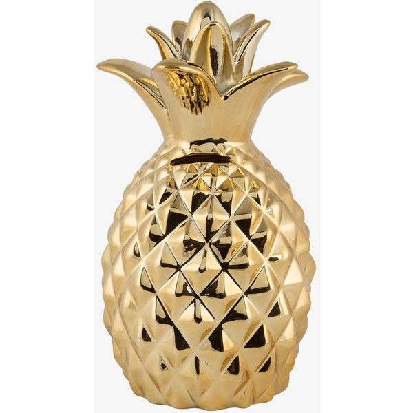 Sass & Belle Gold Pineapple Money Box ($24) ❤ liked on Polyvore featuring home, home decor, small item storage, yellow, money piggy bank, gold piggy bank, money bank, gold coin bank and gold home decor