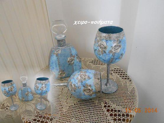decoupage  bottles  glasses