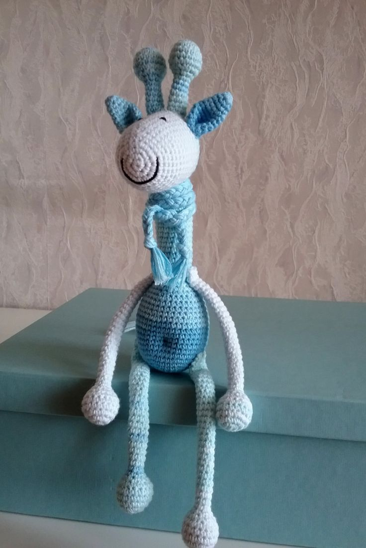 amigurumi/Crochet Toys/Baby Shower Gift /Baby Toys/Giraffe crochet/Knitted toy/yarn/knitted giraffe/handmade/blue tones toy/Birthday gift by gingermood on Etsy