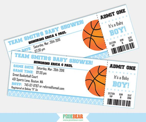 Basketball Baby Shower Party Invitation Printables by PixieBearParty on Etsy  #BabyShowerInvitations #BasketballInvitations #TicketInvitation