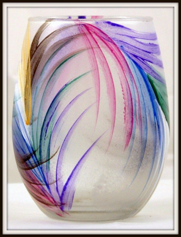 Hand-Painted Fan Stemless Wine Glass