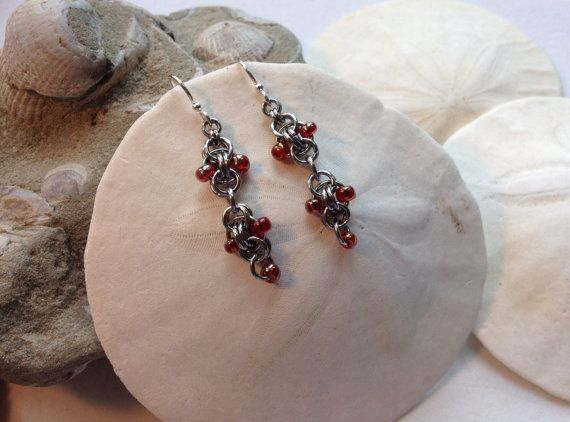 Simplicity Style Chainmaille Earrings by JewelrybySacredArt, $25.00