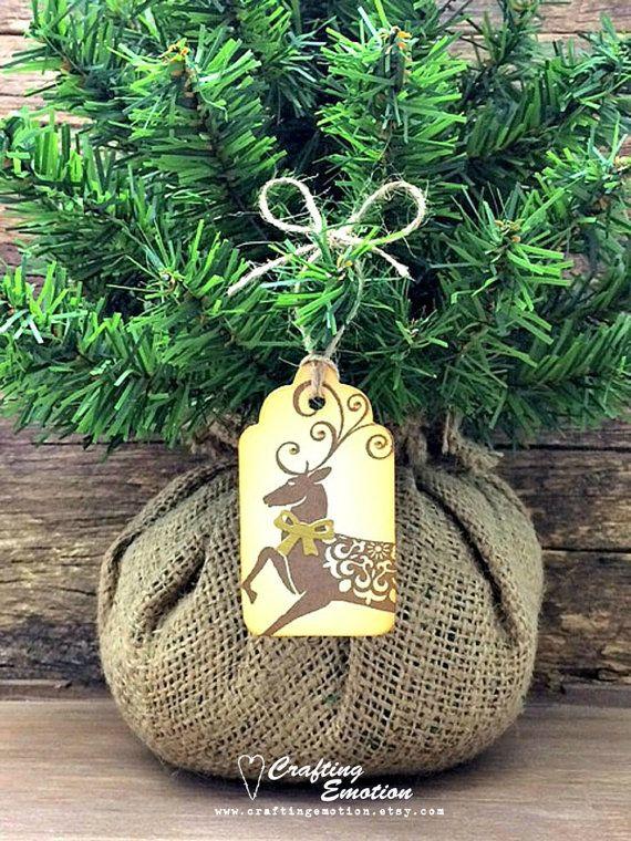 6 Handmade Christmas gift tags, Rustic Christmas tags, Christmas Wrapping, Christmas tags, Country Primitive Christmas, Reindeer gift tags $7.95AUD