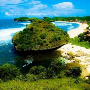 exotic krakal beach yogyakarta viewed from the top hill