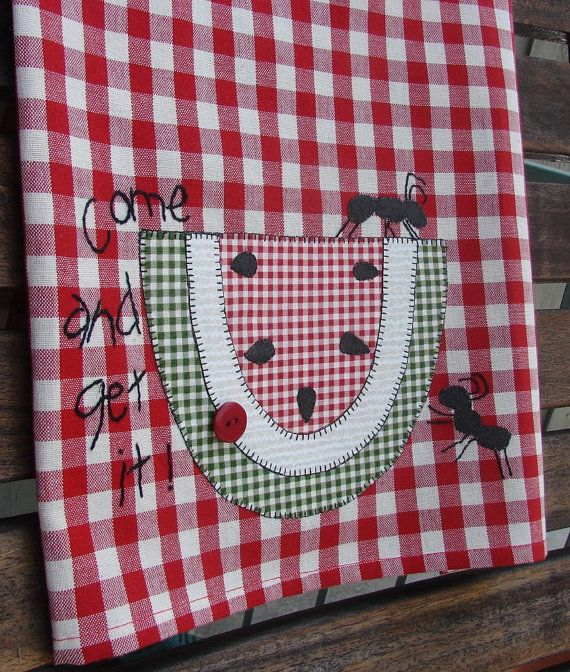 Fourth of July Independence Day Picnic Park Fun Aunts Come and Get It Watermelon Table Cloth Style Tea Towel Appliqued Summer Kitchen Decor