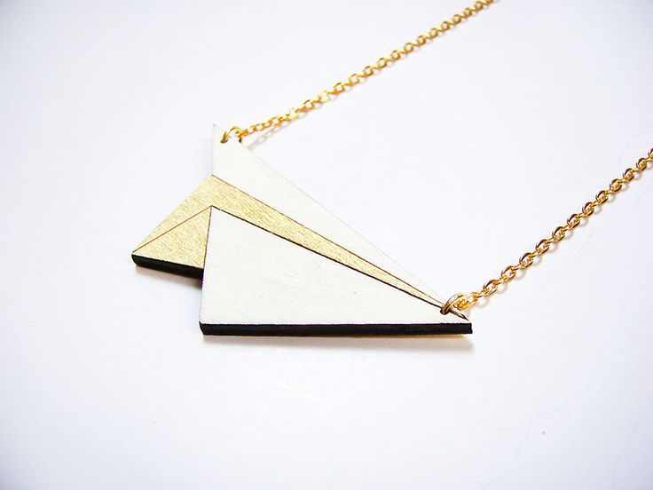 Hand painted, laser cut, plywood pendant - Paper plane