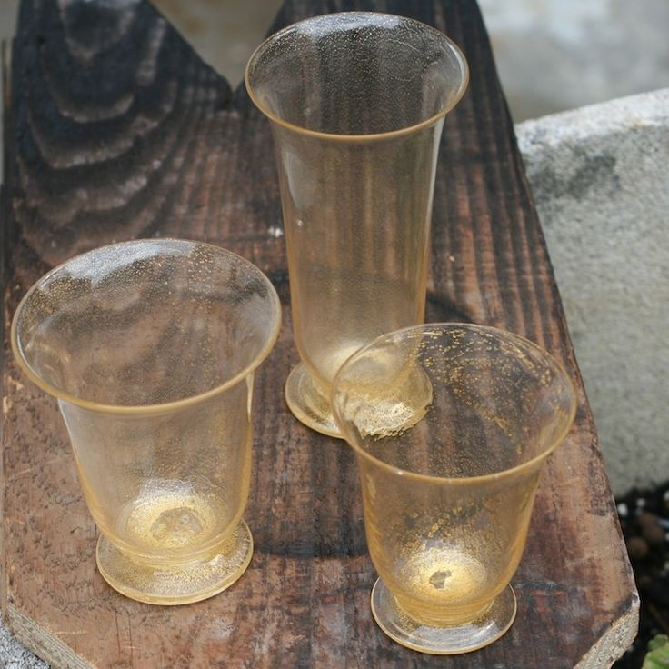 CALLA by STRIULLI A. VETRI D'ARTE - 18 Pcs Drinking Set of lightweight, gold-leaf covered glasses #yourmurano