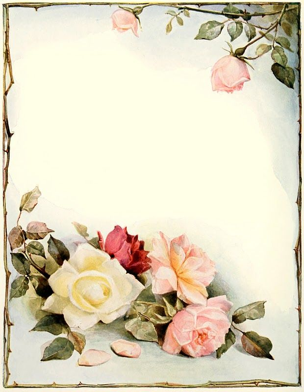 Frame with rose corner accents