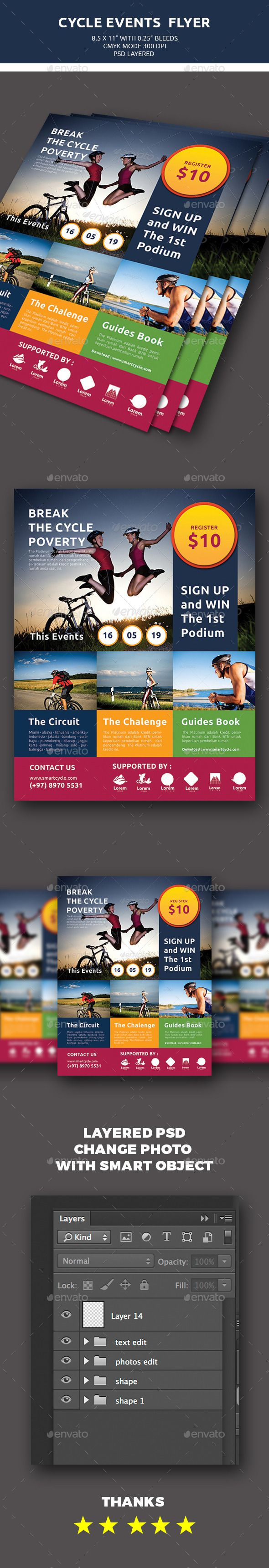 Cycle Events Flyer by banyustudio Cycle Events Flyer Featured : 8.511 Size 0.25 bleed CMYK MODE 300 DPI Resolution Layered Organzation PSD Mode Font Link Image Cr