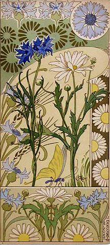 Riom Cornflower & Moon Daisy Etudes de Fleurs. 1890s. Lithograph. Image via mpt.1607, on Flickr