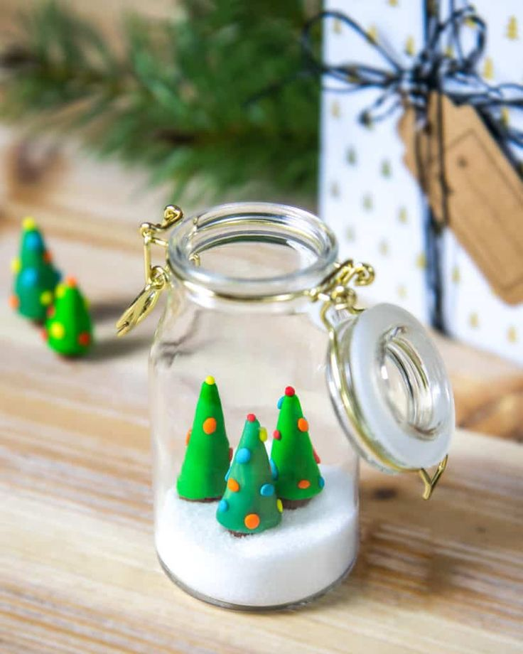 Buntes Winter Wonderland Im Glas Fimo Knete