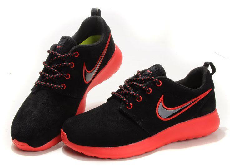 Billig Damen Nike Roshe Run Suede Schwarz Rot
