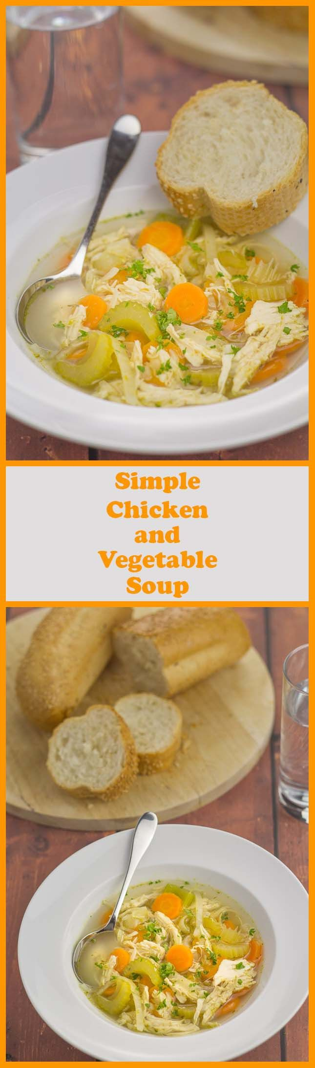 Simple chicken and vegetable soup. Simple because it's made with basic vegetables, a chicken breast and stock cubes. You can easily add your own selection of seasonal vegetables or vegetables to use up too. All in all, this is a really tasty, versatile and satisfying simple soup recipe.