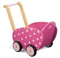 This pink doll's pram by Janod is a very pretty way to take dolly for a ride while developing motor skills