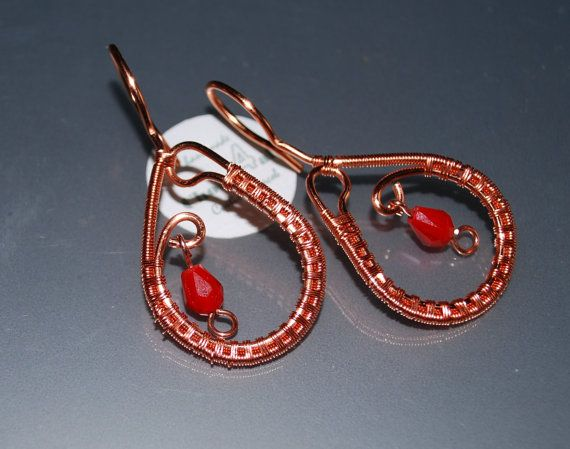 Wire Wrapped Earrings Dangle Earrings Red Earrings by choice4all
