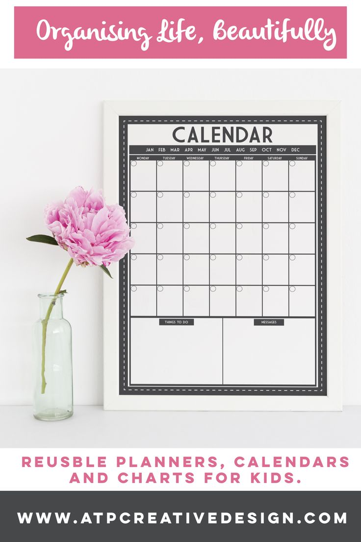 Reusable calendar, works like a whiteboard. Write on the glass with liquid chalk, wipe clean with a damp cloth &a reuse over and over again. Add a meal planner or message board to create a command centre for the family.
