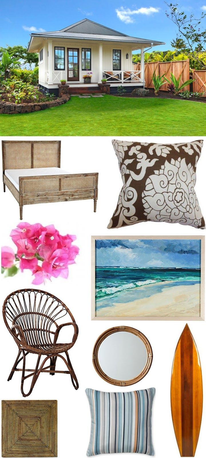 Get this CHIC COASTAL LIVING Hawaiian Beach House Look with our Harbour Cane Bed, Hennie Chair, Oceanic Artwork, and Montara Mirror.