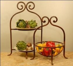 2 Tier Wrought Iron Metal Tuscan Serving Plate Stand