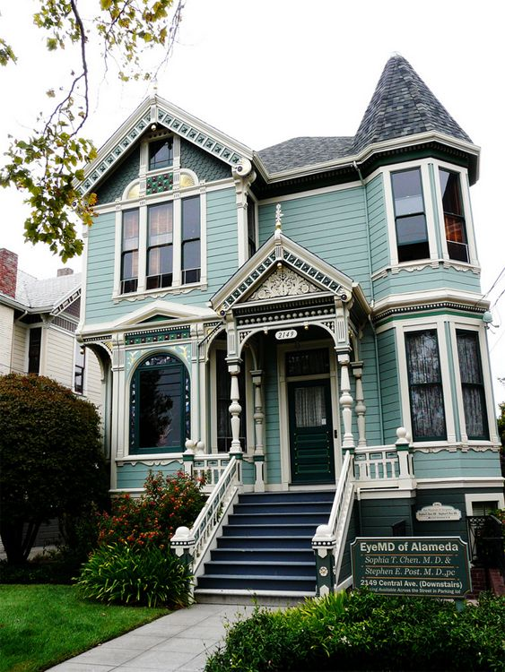 victorian house in blue