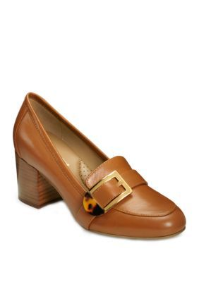 Aerosoles Pattern Work Stacked Heel Shoes – Dark Tan Leather – 7.5M