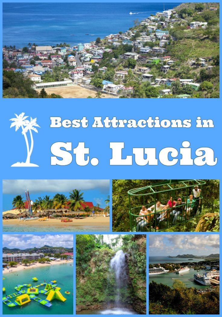 Top toursit attractions in St. Lucia - The Pitons, Pigeon Island National Park, La Soufriere Volcano, Rain Forest Aerial Trams, Marigot Bay, Vieux Fort and other points of interest