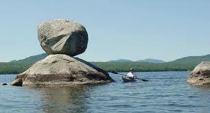 balancing rock in Jo Mary Lake, Millinocket, Maine. Great childhood memory