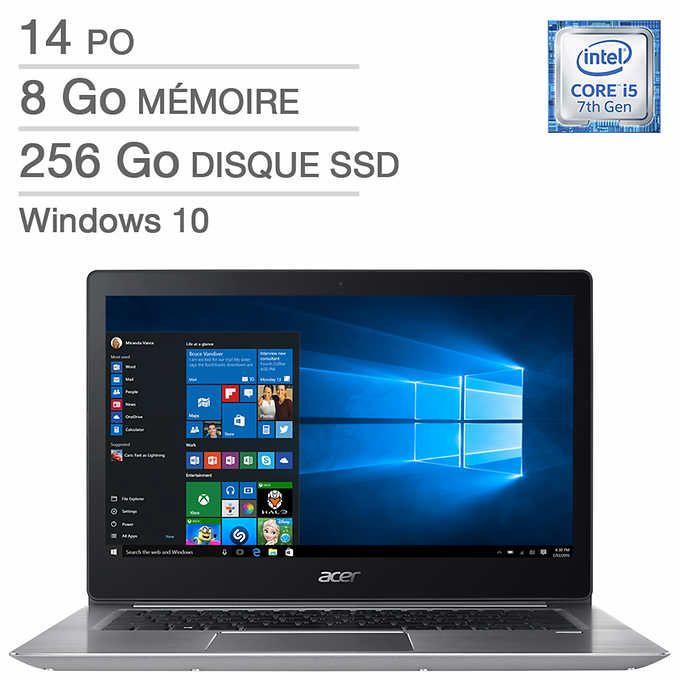 Acer – Ordinateur portable Aspire Swift bilingue, i5-7200U