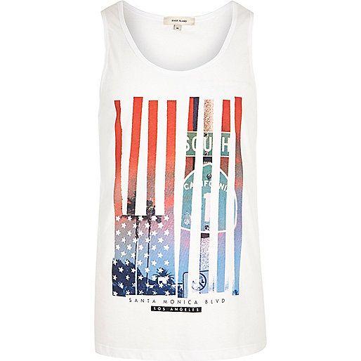 White American flag print vest - vests - t-shirts / vests - men