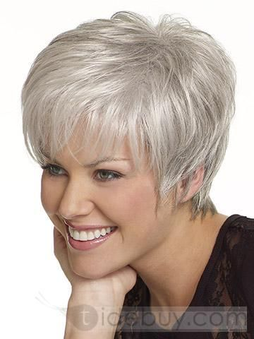 """Silver Hair Styles   ... Popular Wigs >Beautiful Short Straight Grey 5"""" Synthetic Hair Wigs"""