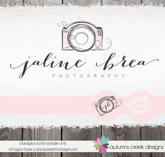 Premade Logo with Camera -  Hand Drawn Sketched Doodled Camera Swirls heart Logo + Watermark Design Name Text Logo