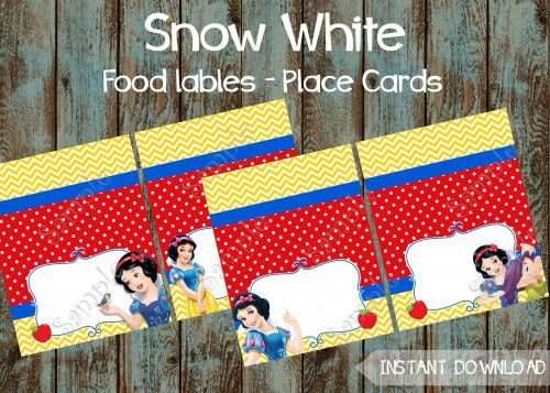Snow White Birthday party package,  Snow White Party Supplies, Food tent labels, Snow White Place cards