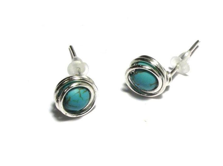 Stud Earrings – Earrings turquoise wire wrapping – a unique product by betulek on DaWanda  #earrings   #kolczyki  #jewelry   #jewellery   #gift   #beauty   #fashion   #style  #black  #minimalism   #quality #trendy #handmade   #handmadejewelry   #buyhandmade   #earings   #betulek   #bybetulek   #jewel   #look