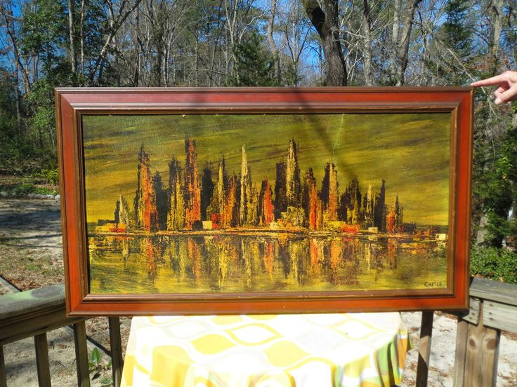 Vtg Mid Century Modern Orange Retro Skyline Cityscape Wall